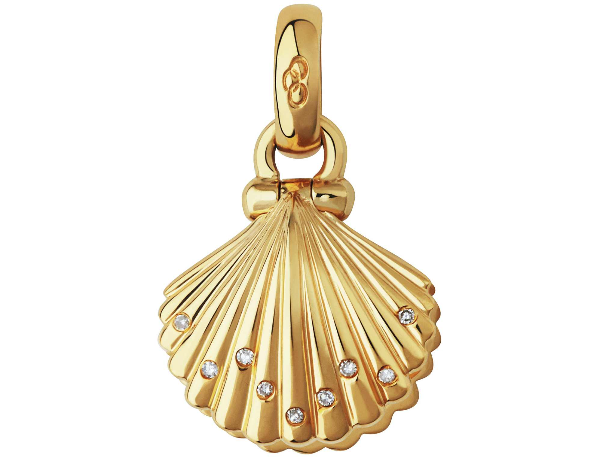 Links of London 18kt Yellow Gold, Diamond & Pearl Clam Shell Charm