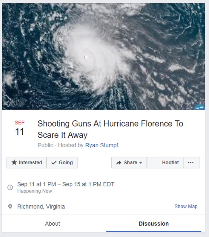 "Facebook event titled ""shooting guns at Hurricane Florence to Scare It Away"