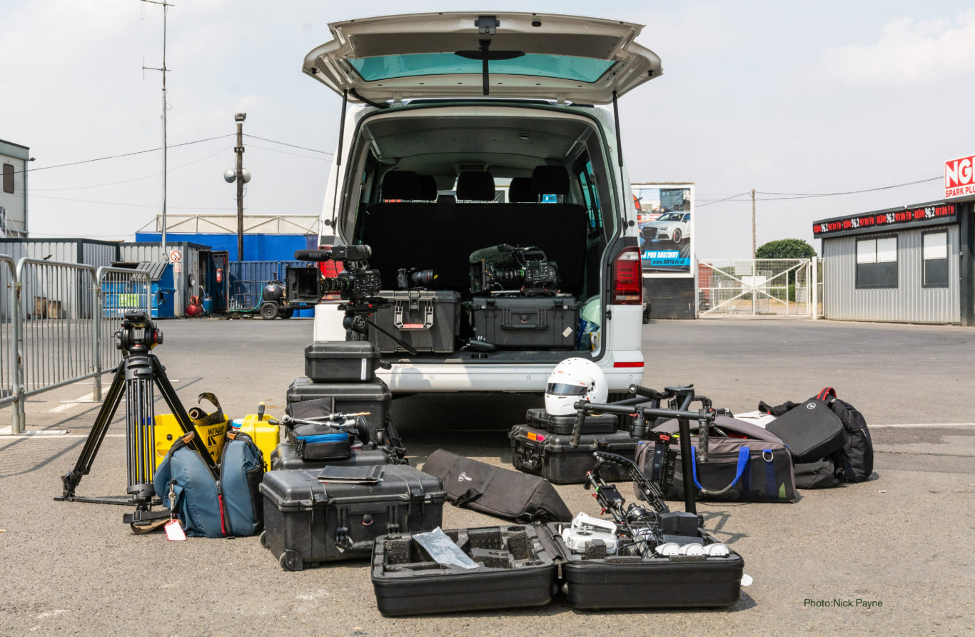 All manner of video kit fits into the back of the Kombi