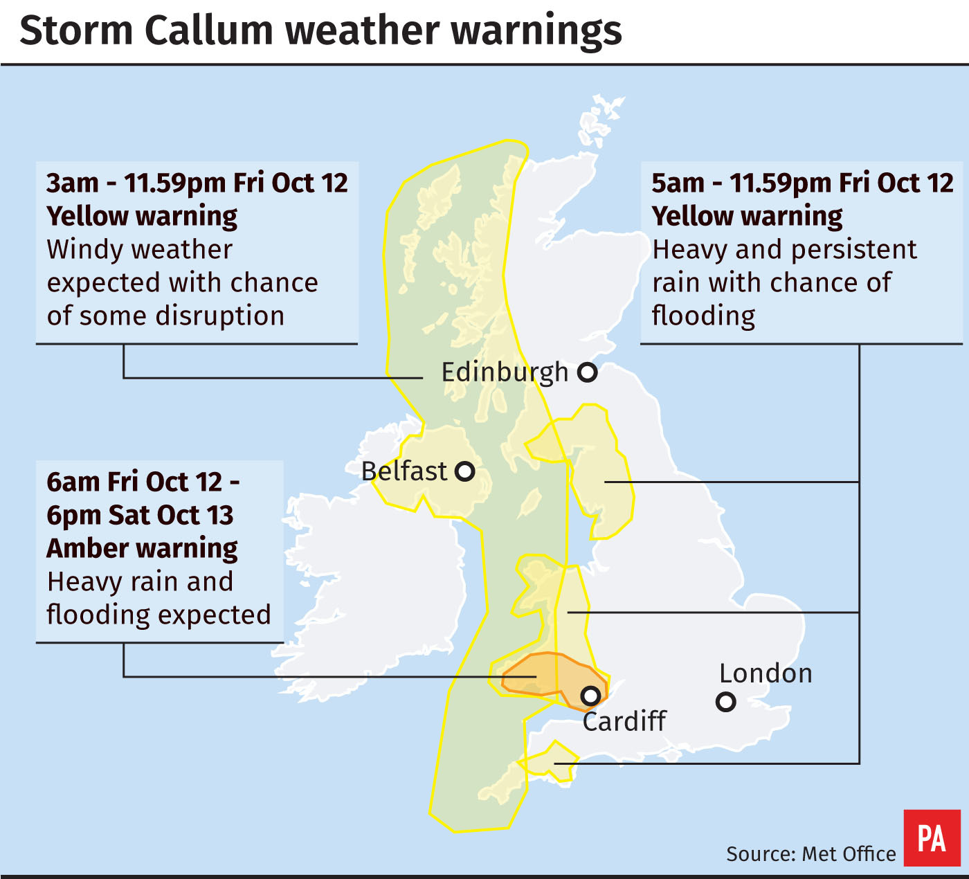 Storm Callum: Your hour by hour forecast for Edinburgh and the Lothians