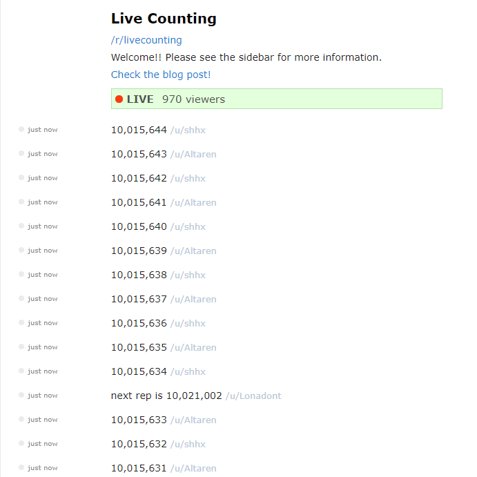 The live count