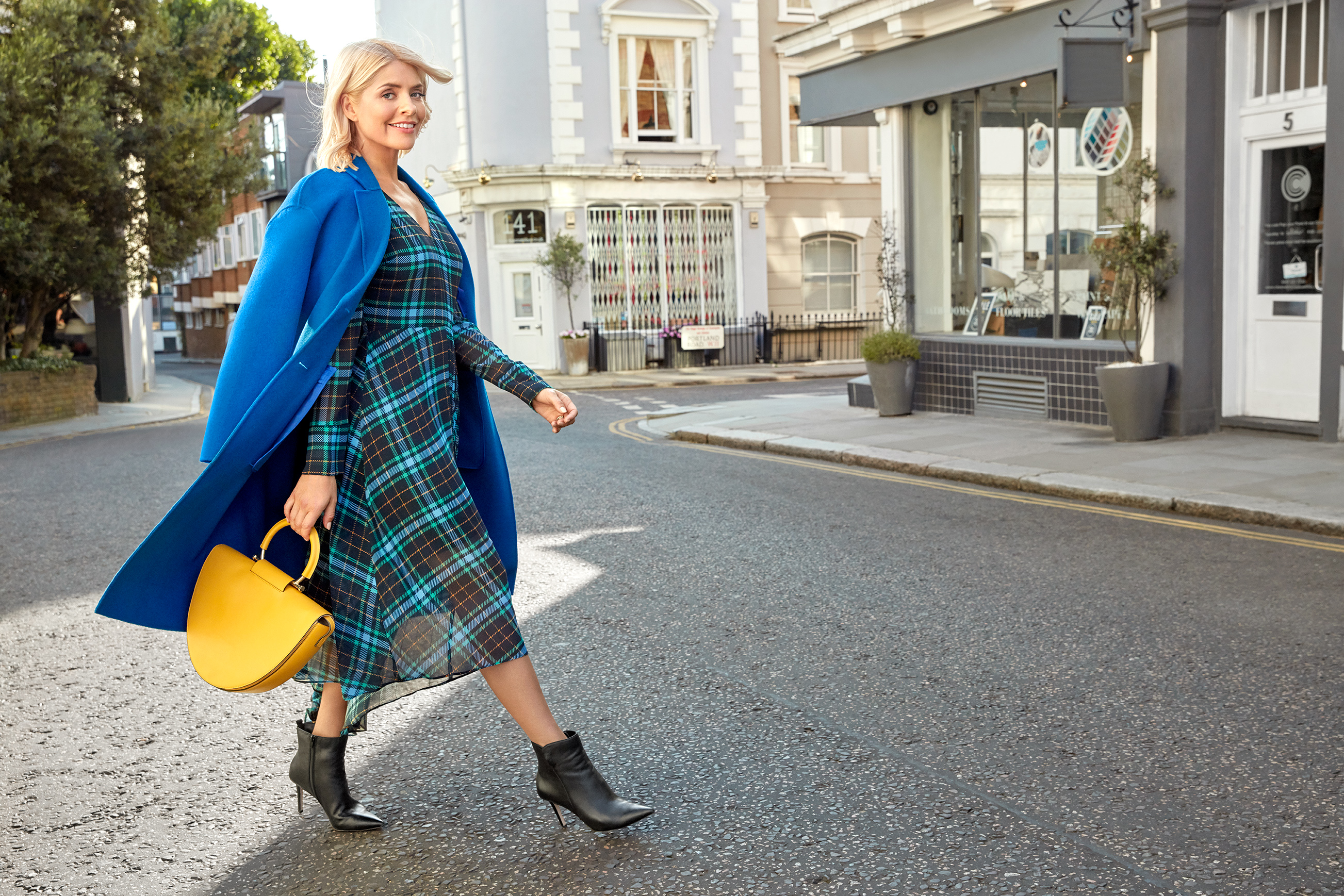 Holly Willoughby wears Autograph Coat, Collection Dress, Collection Bag, Collection Boots