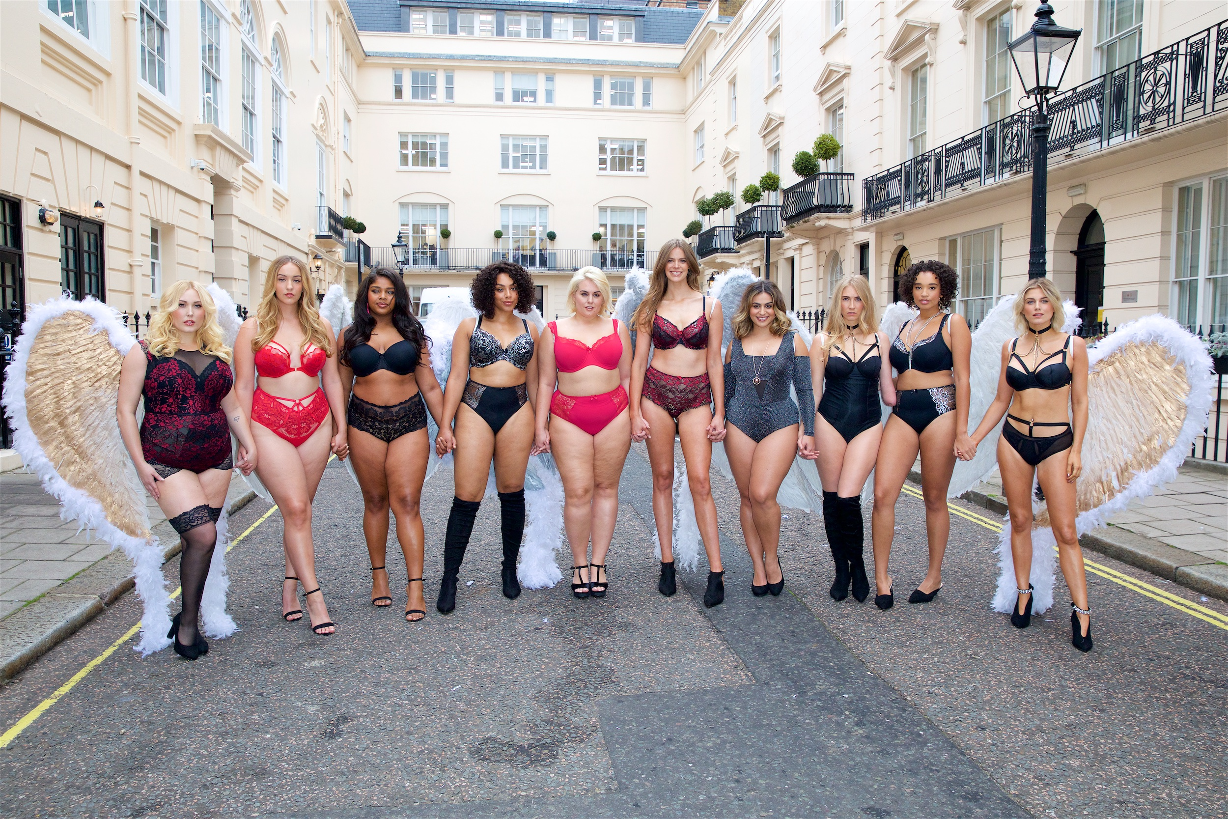 Hayley Hasselhoff, Joann Van Den Herik, Nahuane, Danielle, Felicity Hayward, Robyn Lawley, Ayesha, Kelly Knox, Anais and Ashley James, who walked in the 'We're All Angels' lingerie show