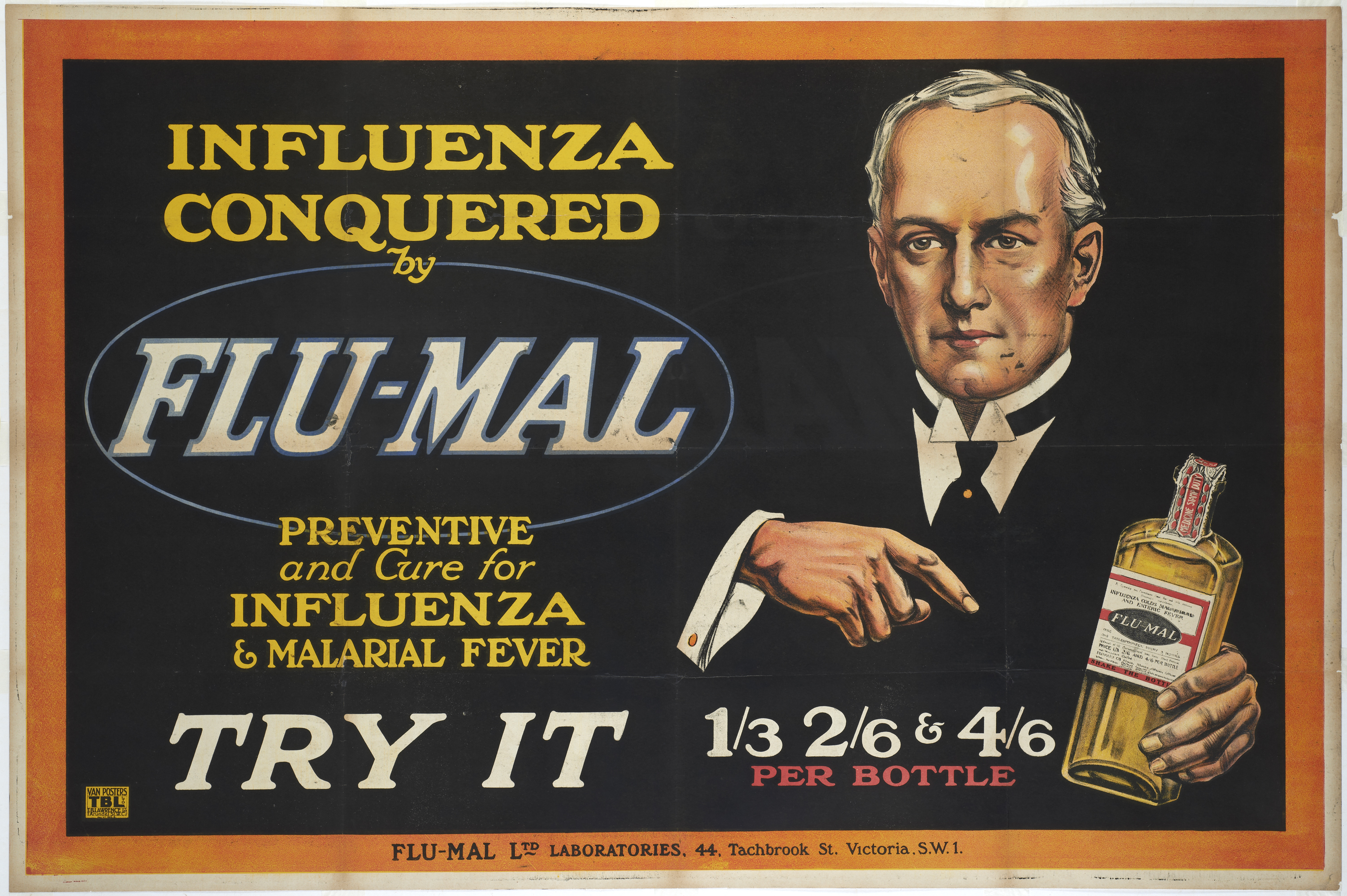 Influenza conquered by Flu-Mal. Advertising Poster