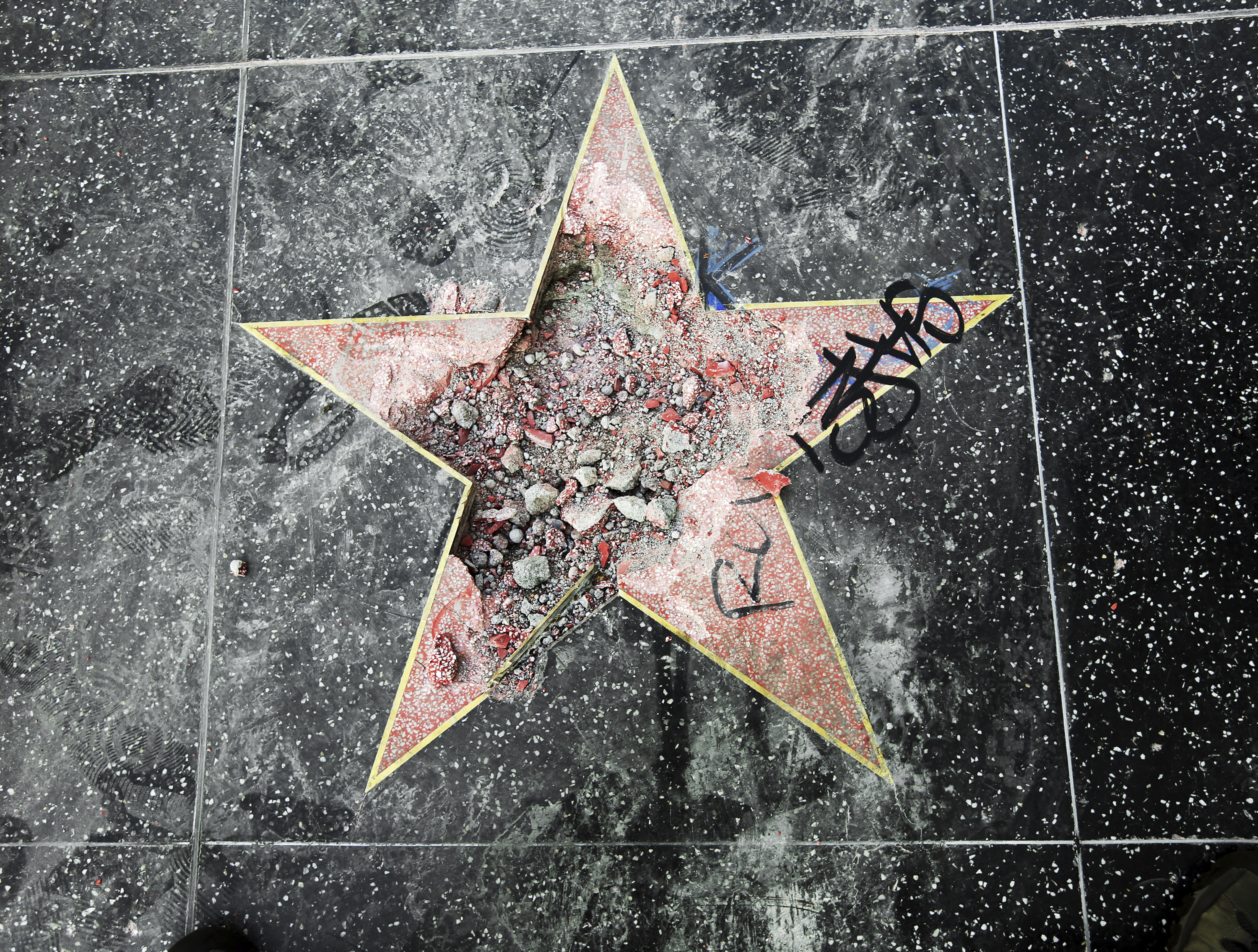 Donald Trump's star on the Hollywood Walk of Fame after it was vandalised in Los Angeles