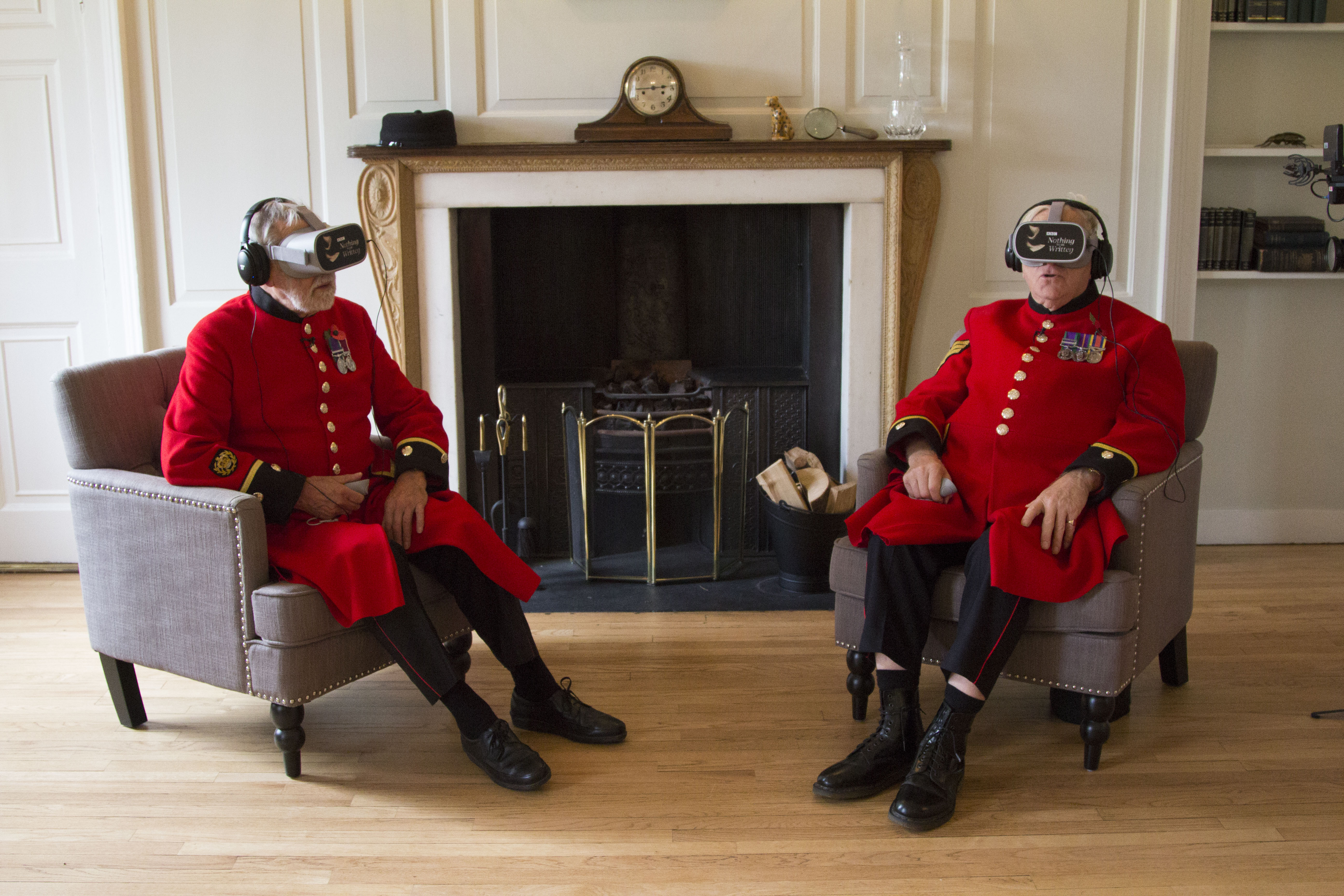 Chelsea Pensioners wearing VR headsets