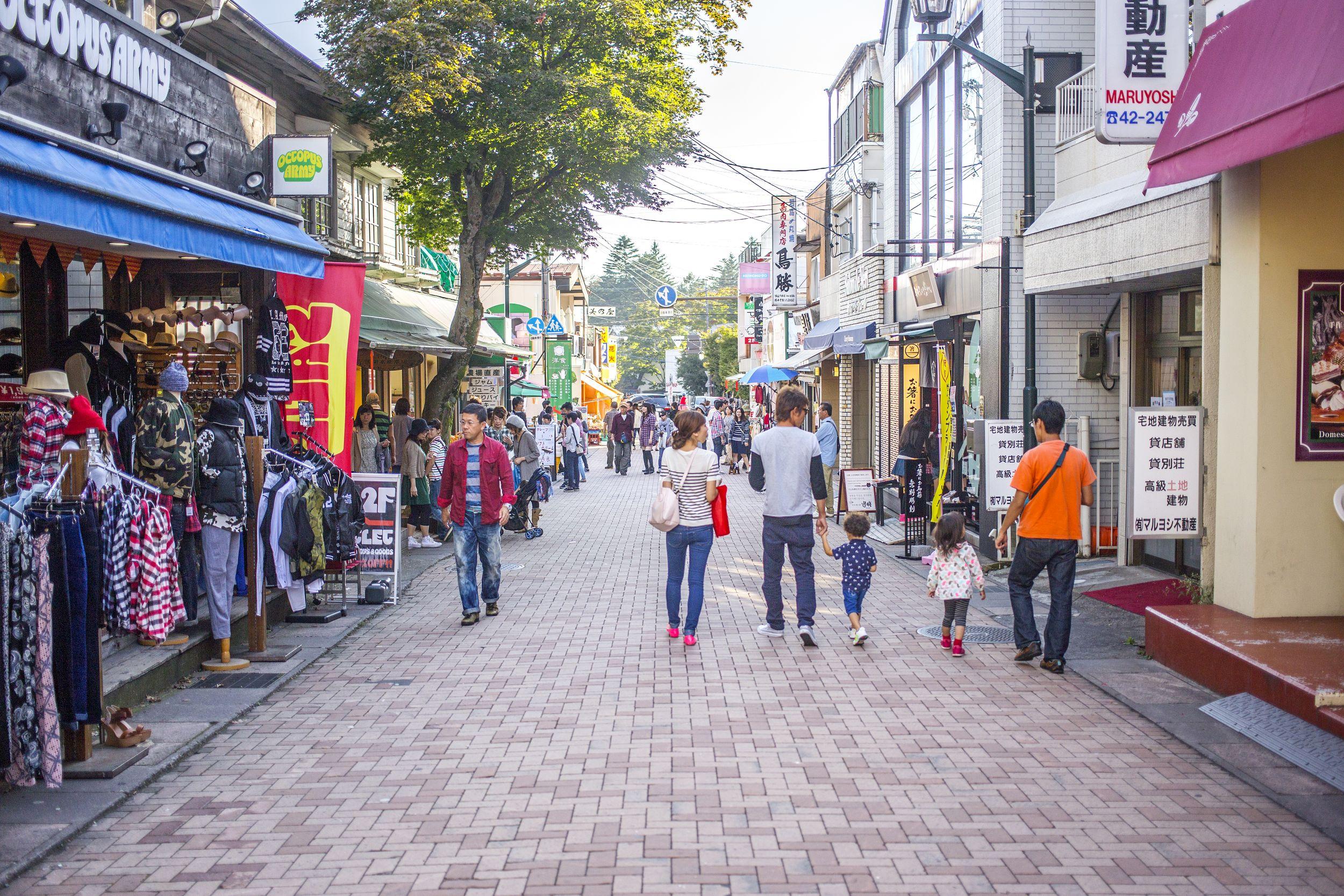 Shopping street in Karuizawa (David Lovejoy / PA)