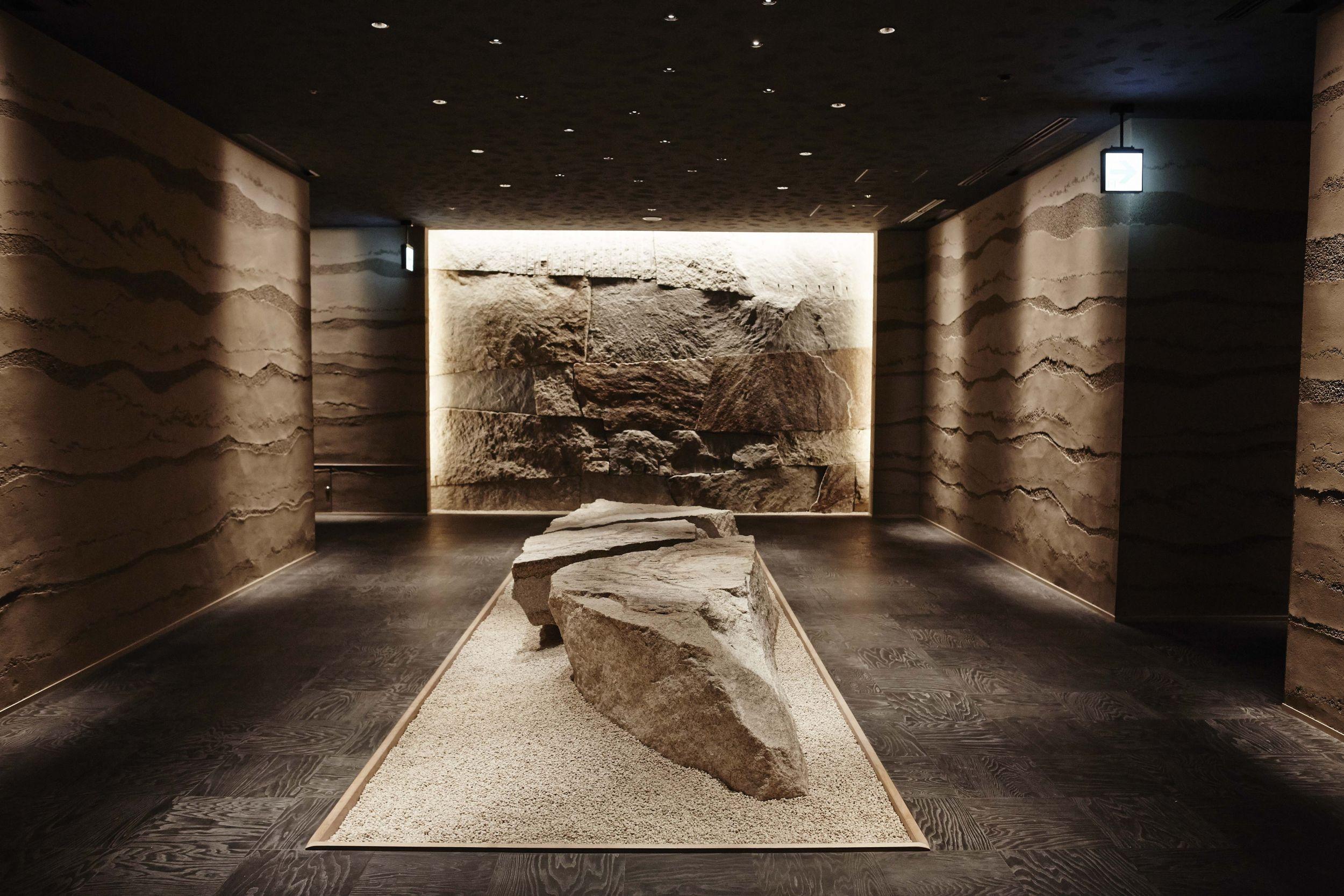 Rocks of hot spring construction, used to decorate Hamada restaurant (Hoshinoya / PA)