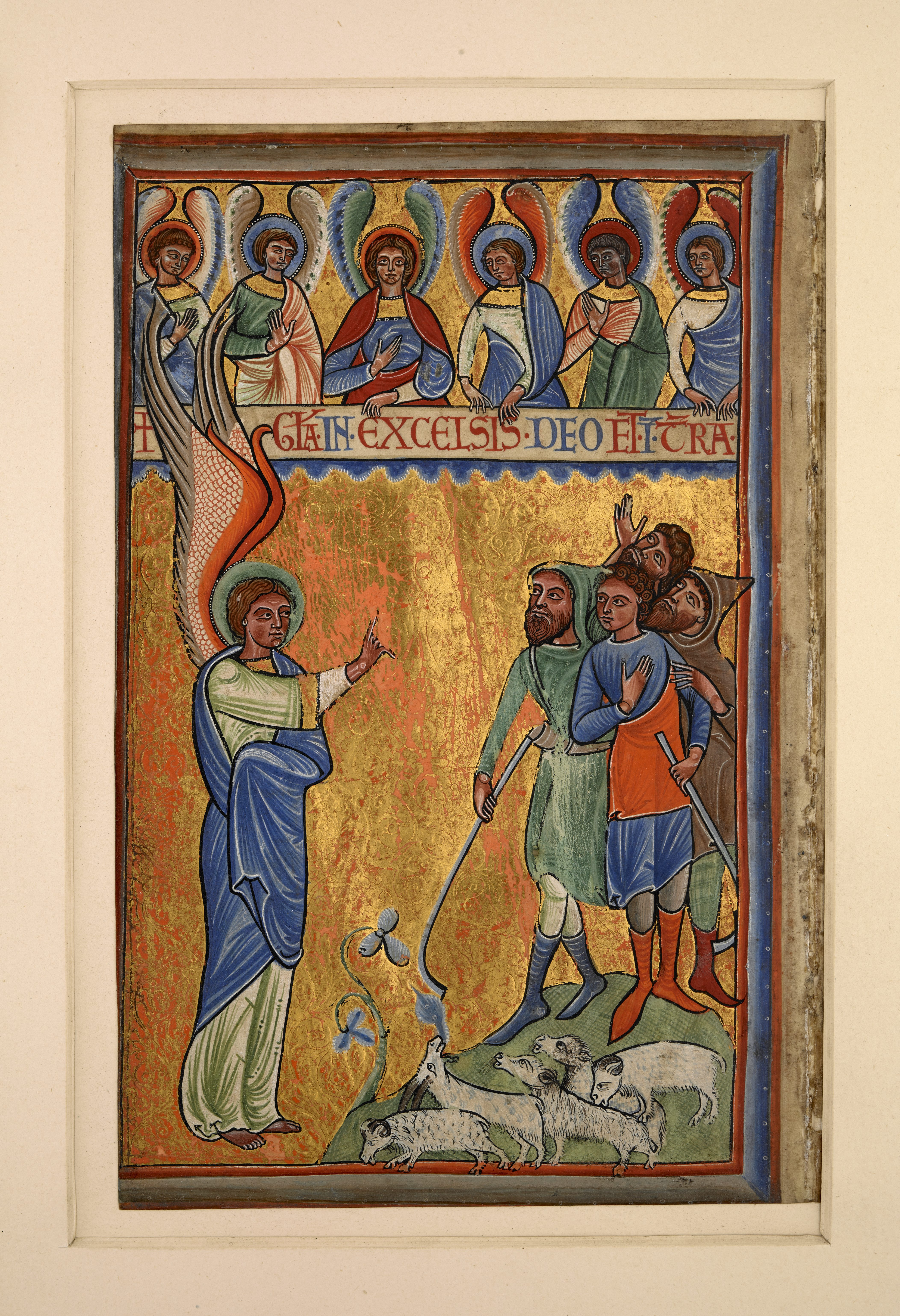Annunciation to the Shepherds, twelfth century psalter