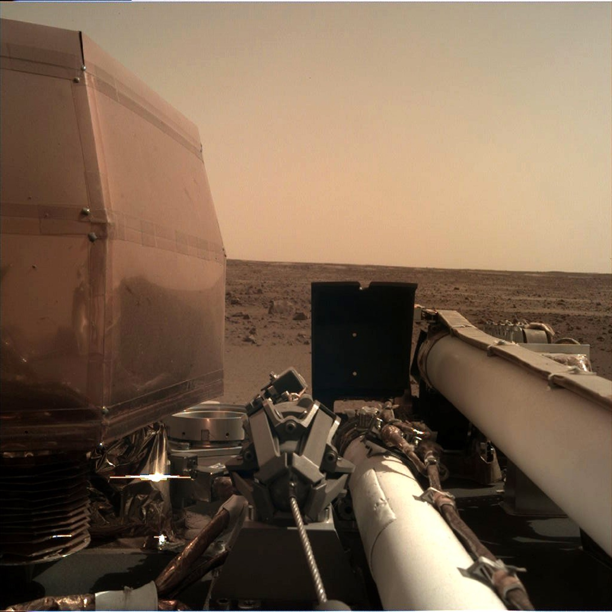 This image of the Martian surface was taken after landing on Tuesday