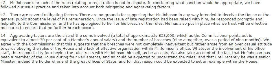 Extract from the Committee on Standards report on Boris Johnson