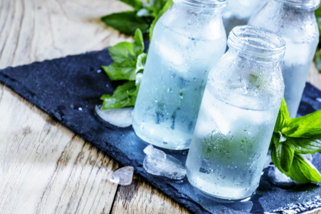 Cold water in glass bottles