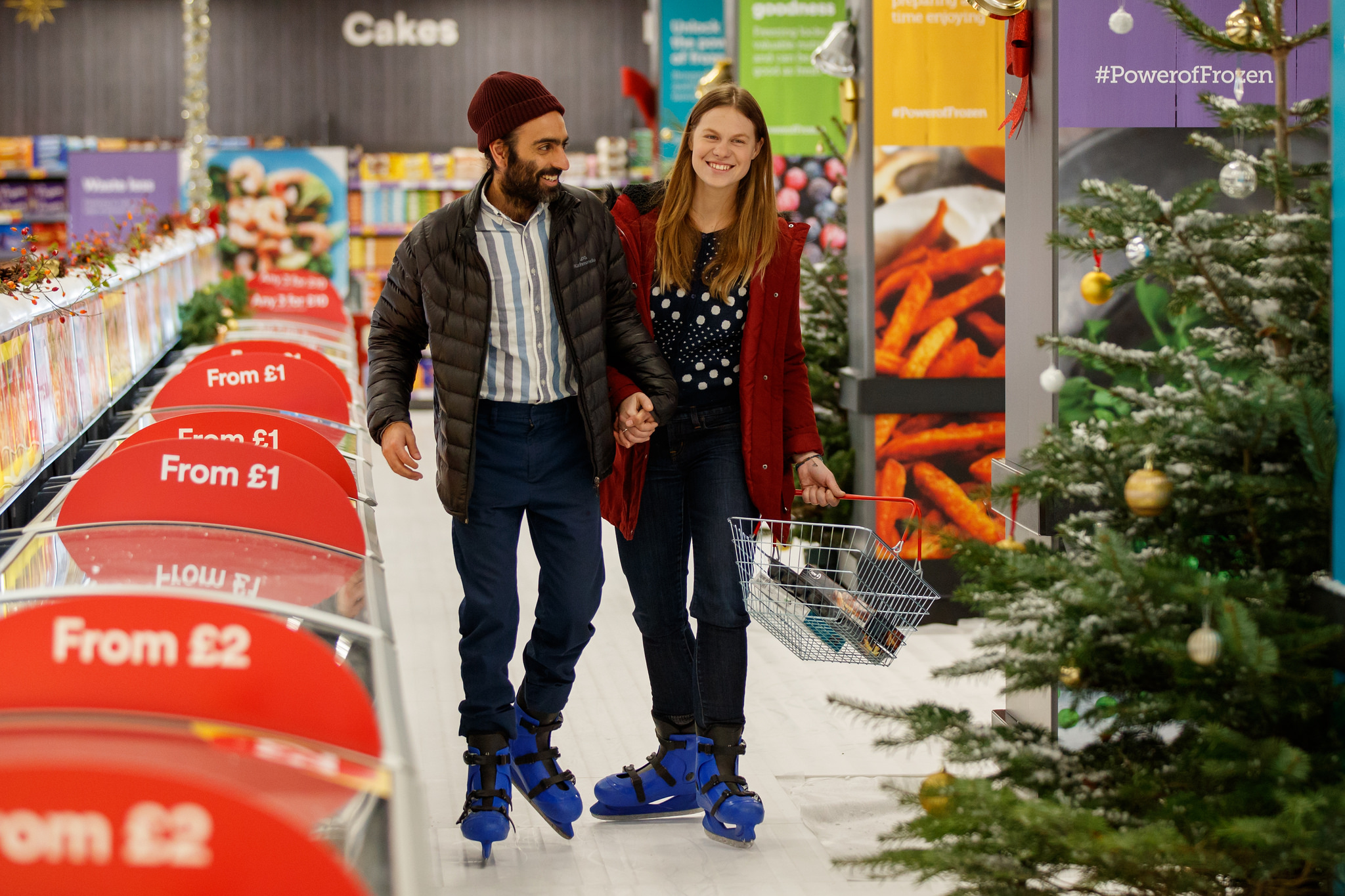 Shoppers negotiating Iceland on skates