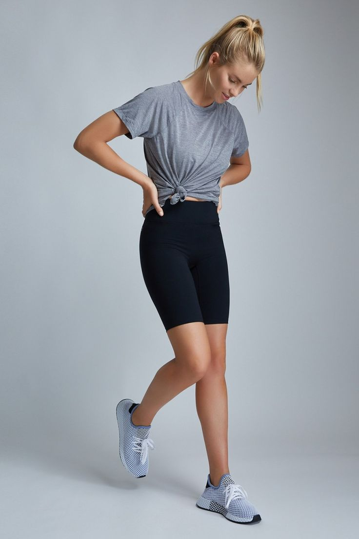 a cycling shorts outfit shown on Pinterest
