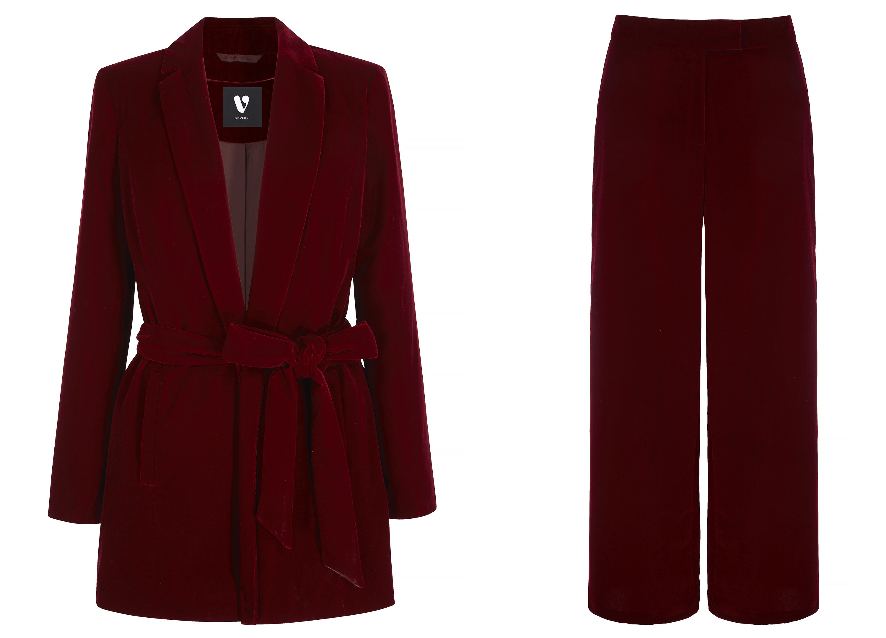 V by Very Burgundy Belted Velvet Suit Jacket; Velvet Wide Leg Suit Trousers