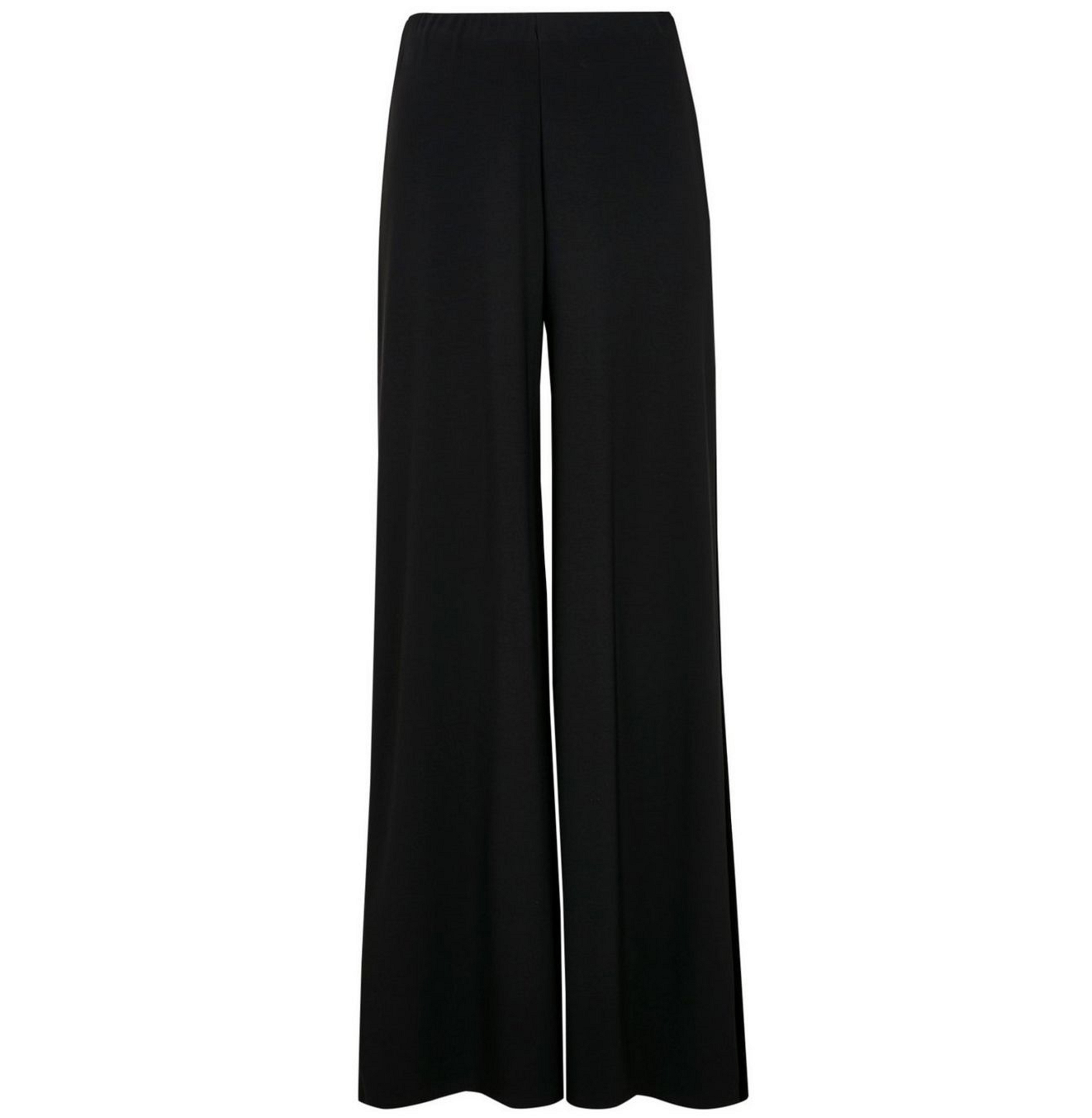Wallis Black Velvet Stripe Wide Leg Trouser
