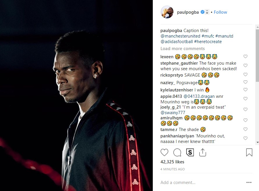 A screen grab from Manchester United midfielder Paul Pogba's Instagram