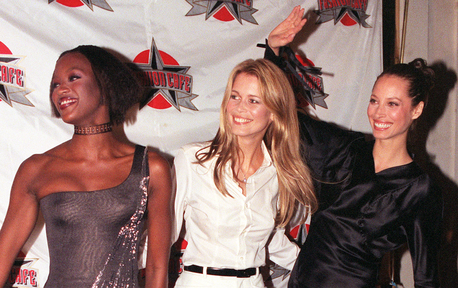 Campbell with two of the other supers, Claudia Schiffer (middle) and Christy Turlington