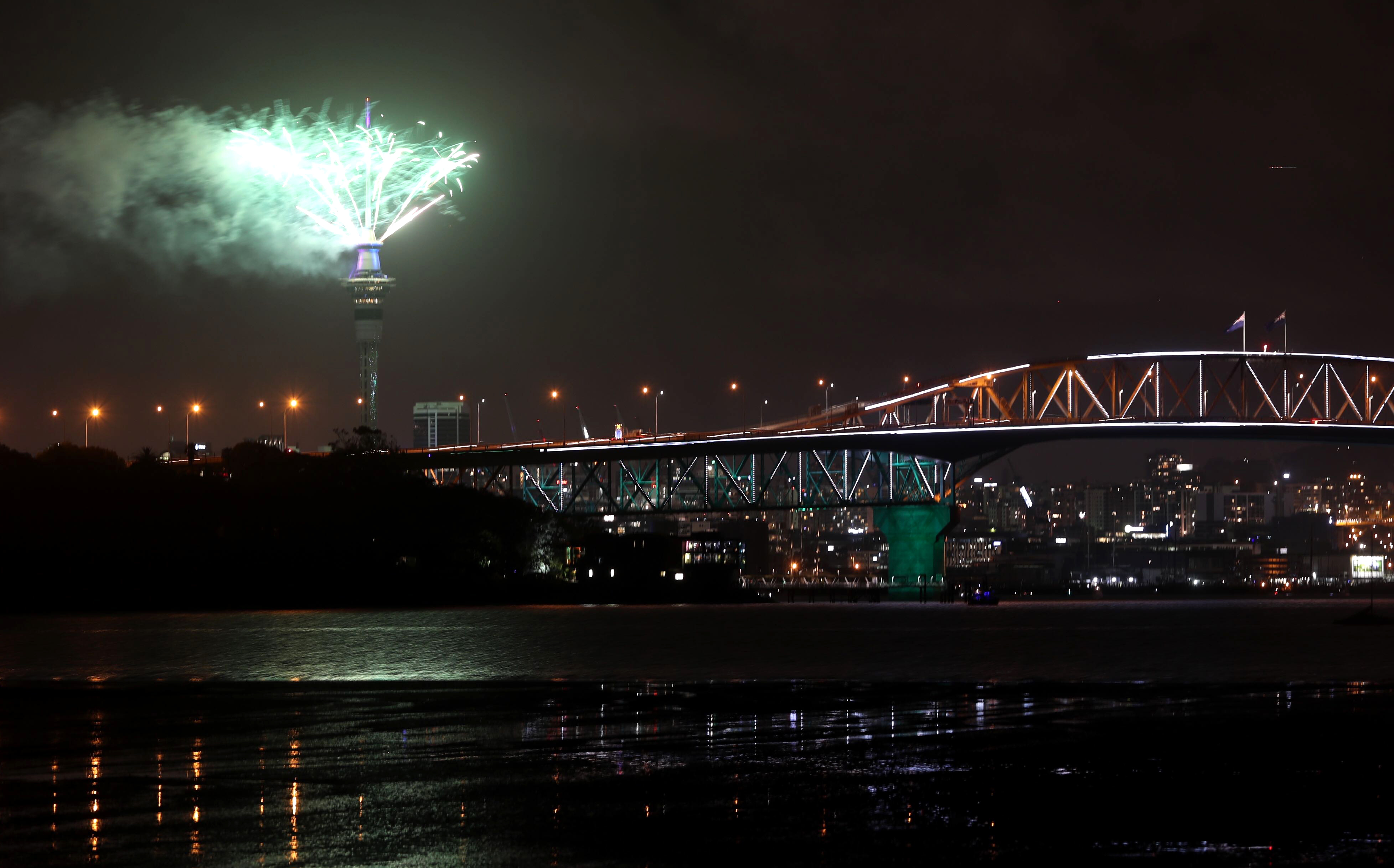 Fireworks explode from Auckland's Sky Tower