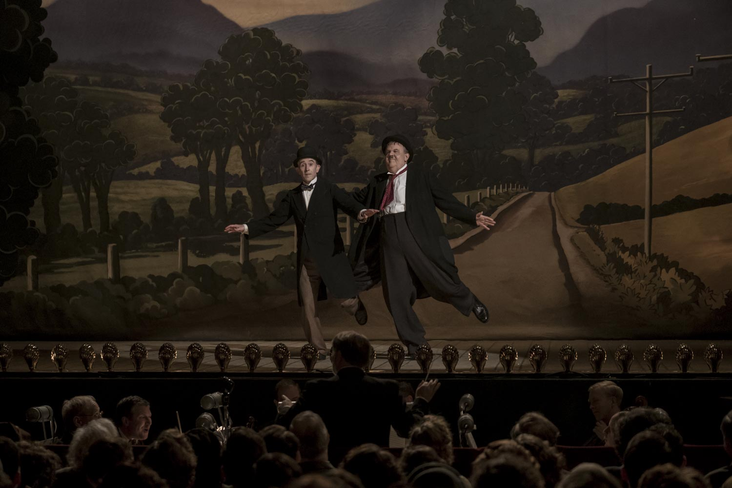 Laurel and Hardy characters on stage