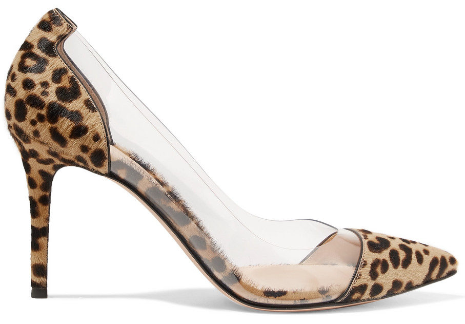 Gianvitto Rossi Plexi 85 leopard-print calf hair and PVC pumps