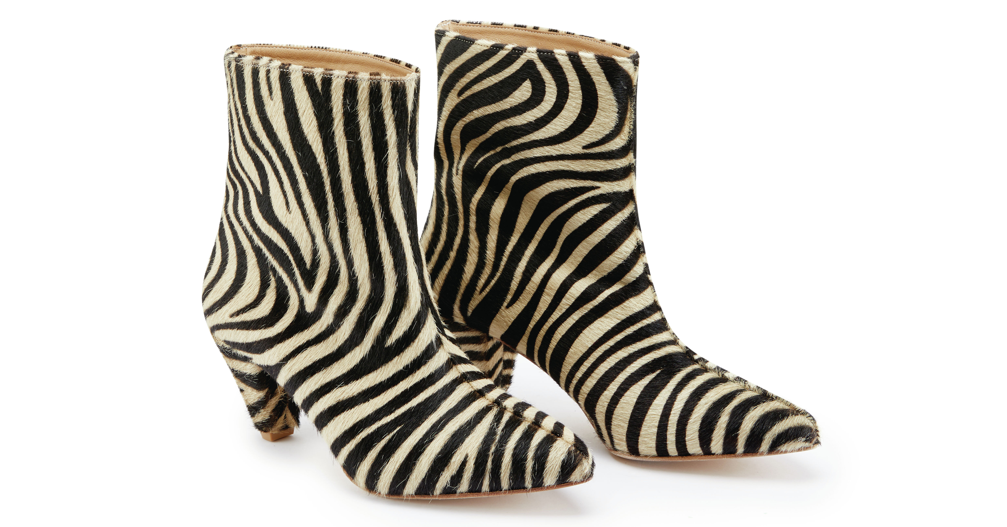 Sosandar Zebra Print Leather Pull On Ankle Boots