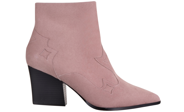 Faith Pink Suedette Bestie Block Heel Ankle Boots