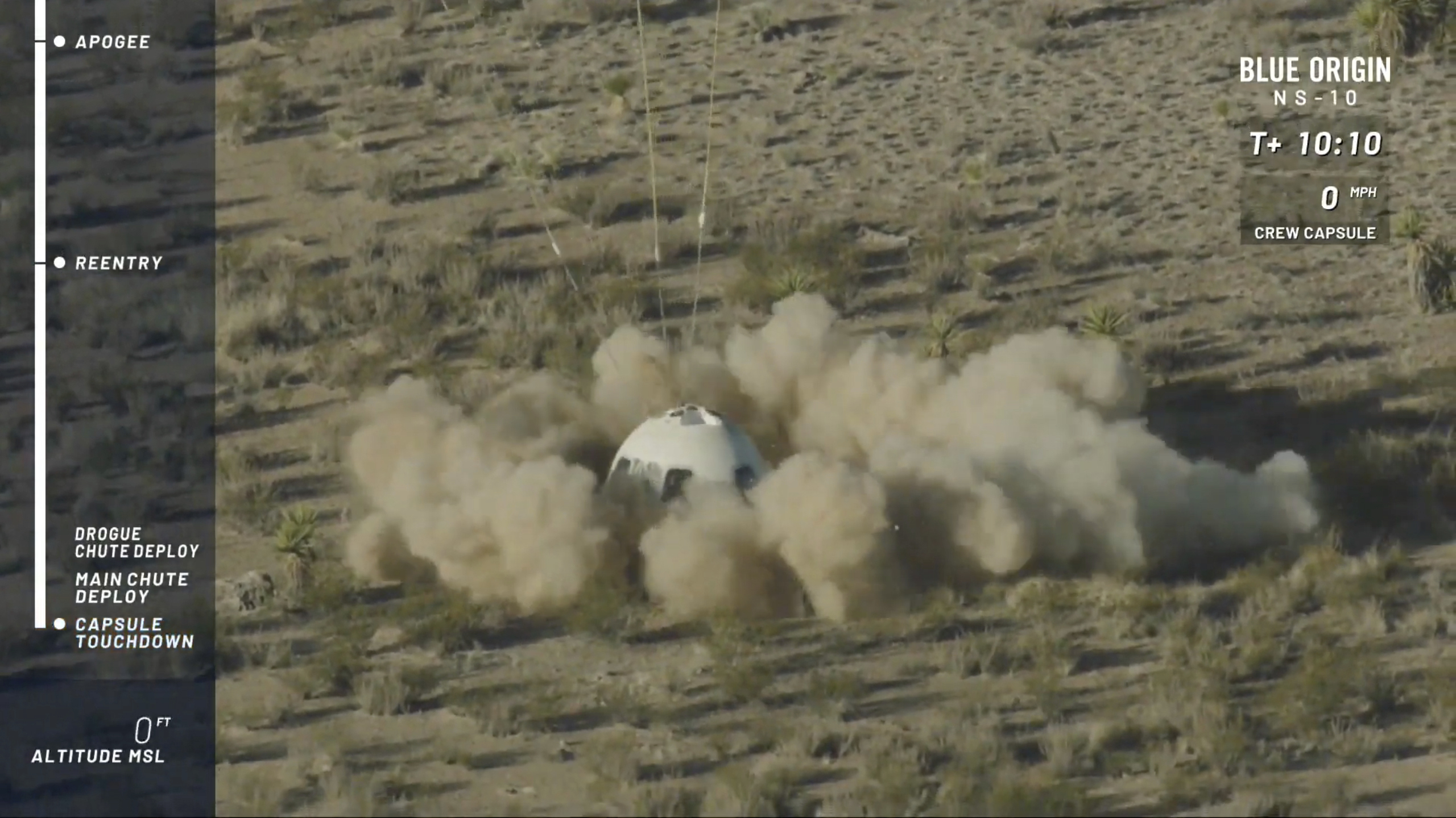 The New Shepard capsule lands at Blue Origin's site in west Texas