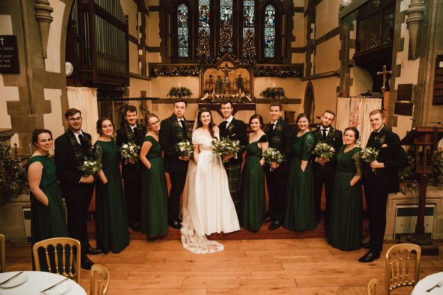 The bride, bridesmaids and groom and groomsmen