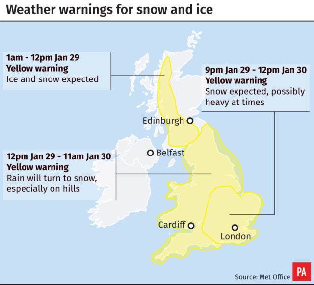 Snow warning as temperatures to remain low this week