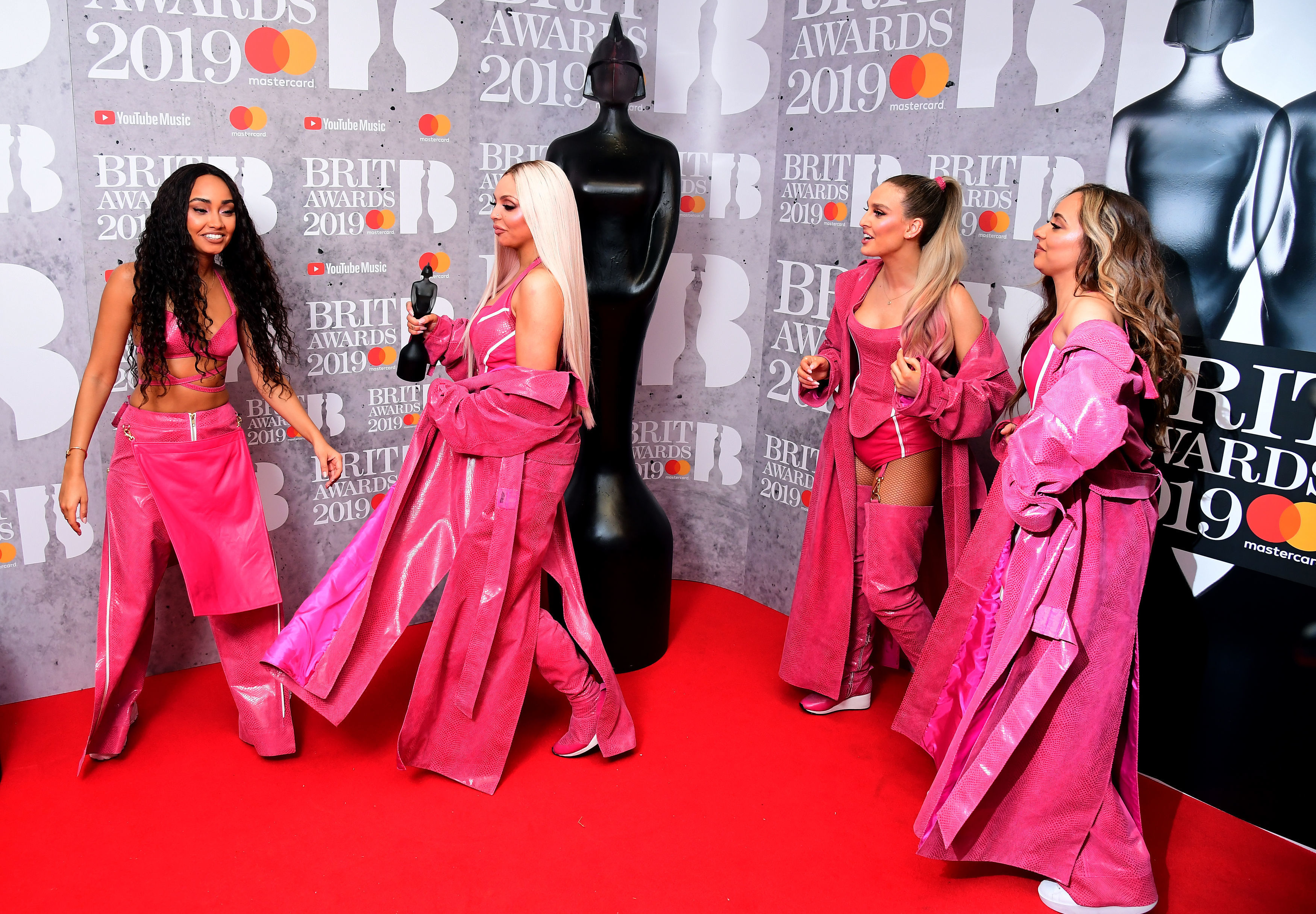 Leigh-Anne Pinnock, Jesy Nelson, Perrie Edwards and Jade Thirlwall of Little Mix with their Best British Video Brit Award