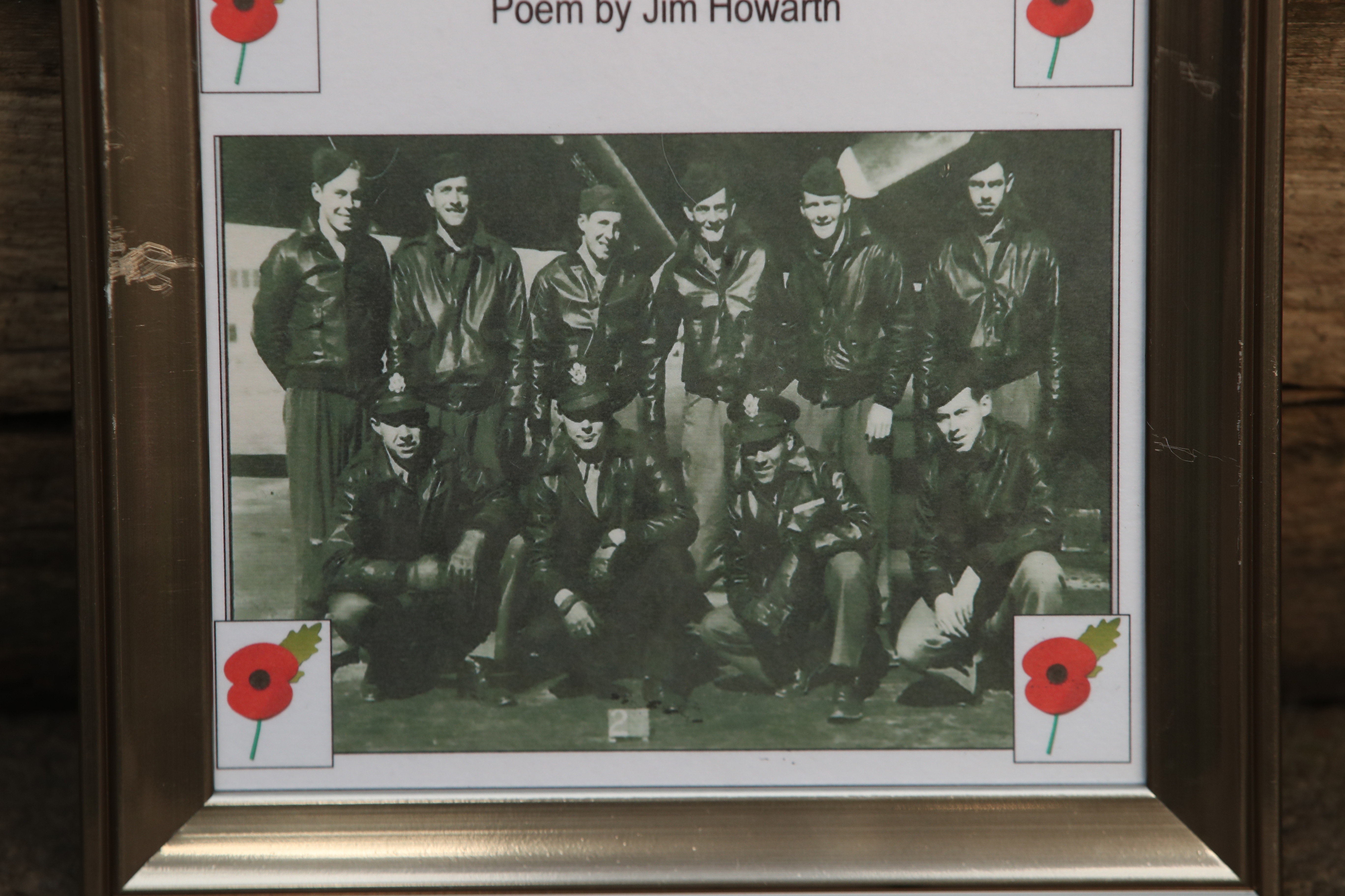 A crew photograph on the memorial in Sheffield to 10 American airmen