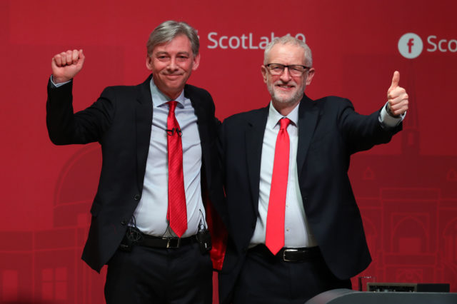 Scottish Labour leader Richard Leonard with Jeremy Corbyn at the party's Scottish conference