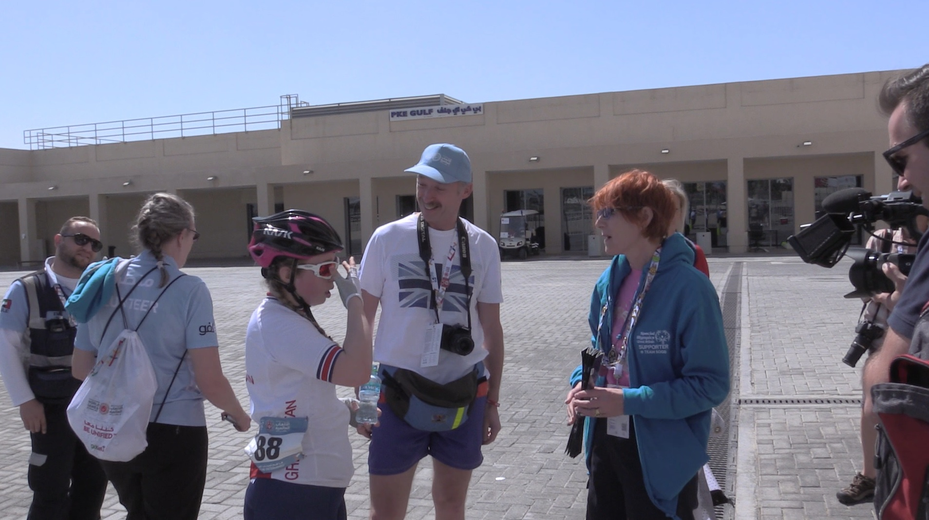 Kiera Byland talks to her parents after her final race at the 2019 World Games