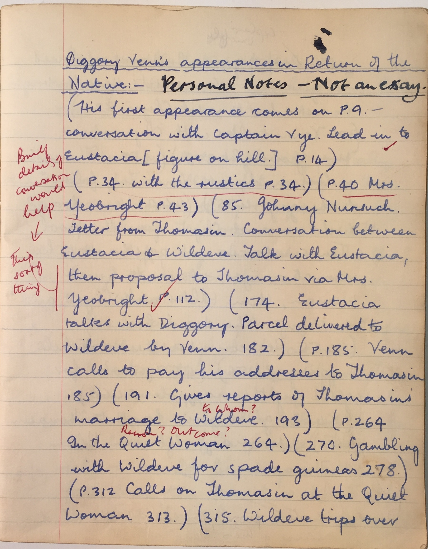 Sir Paul McCartney's English literature notebook