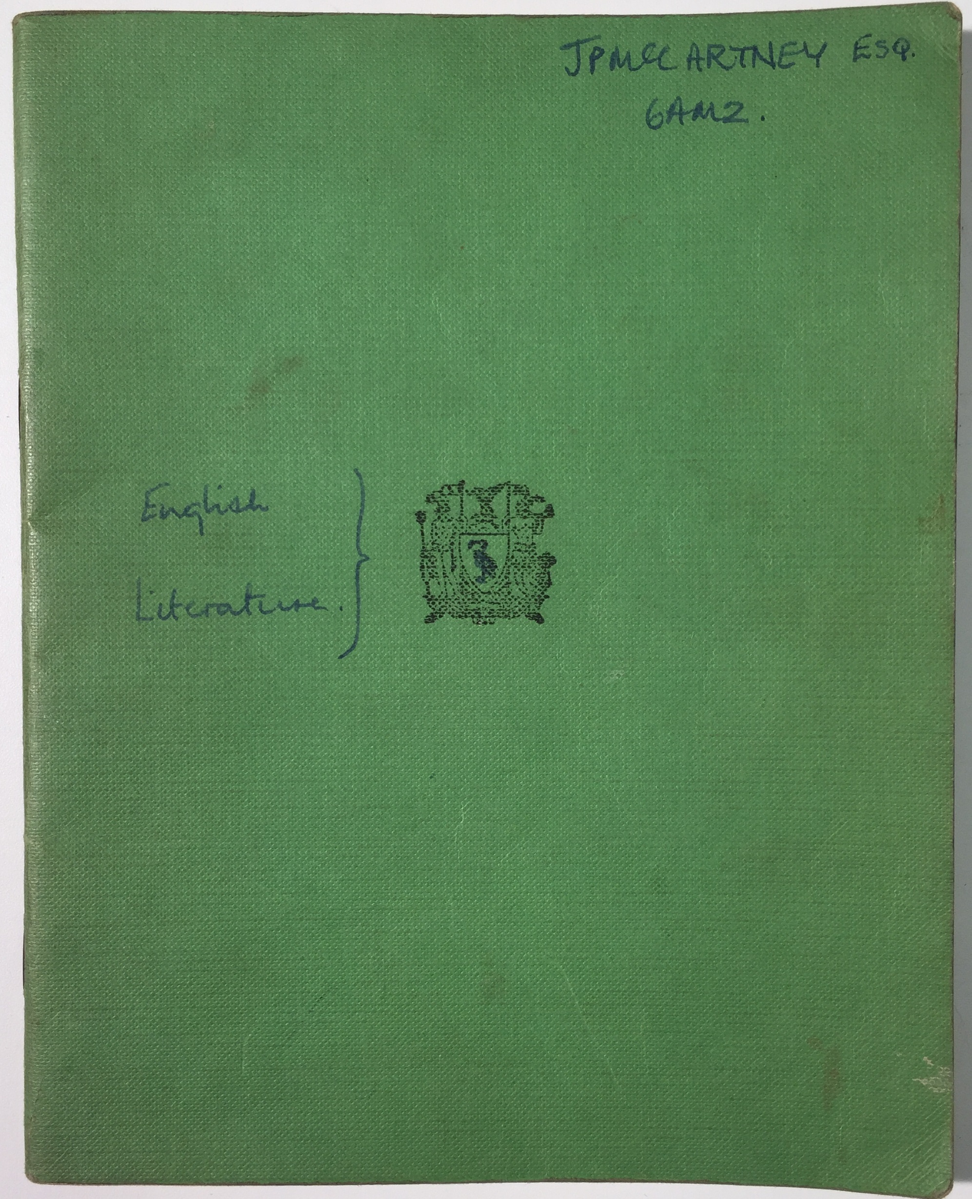 The front of the exercise book