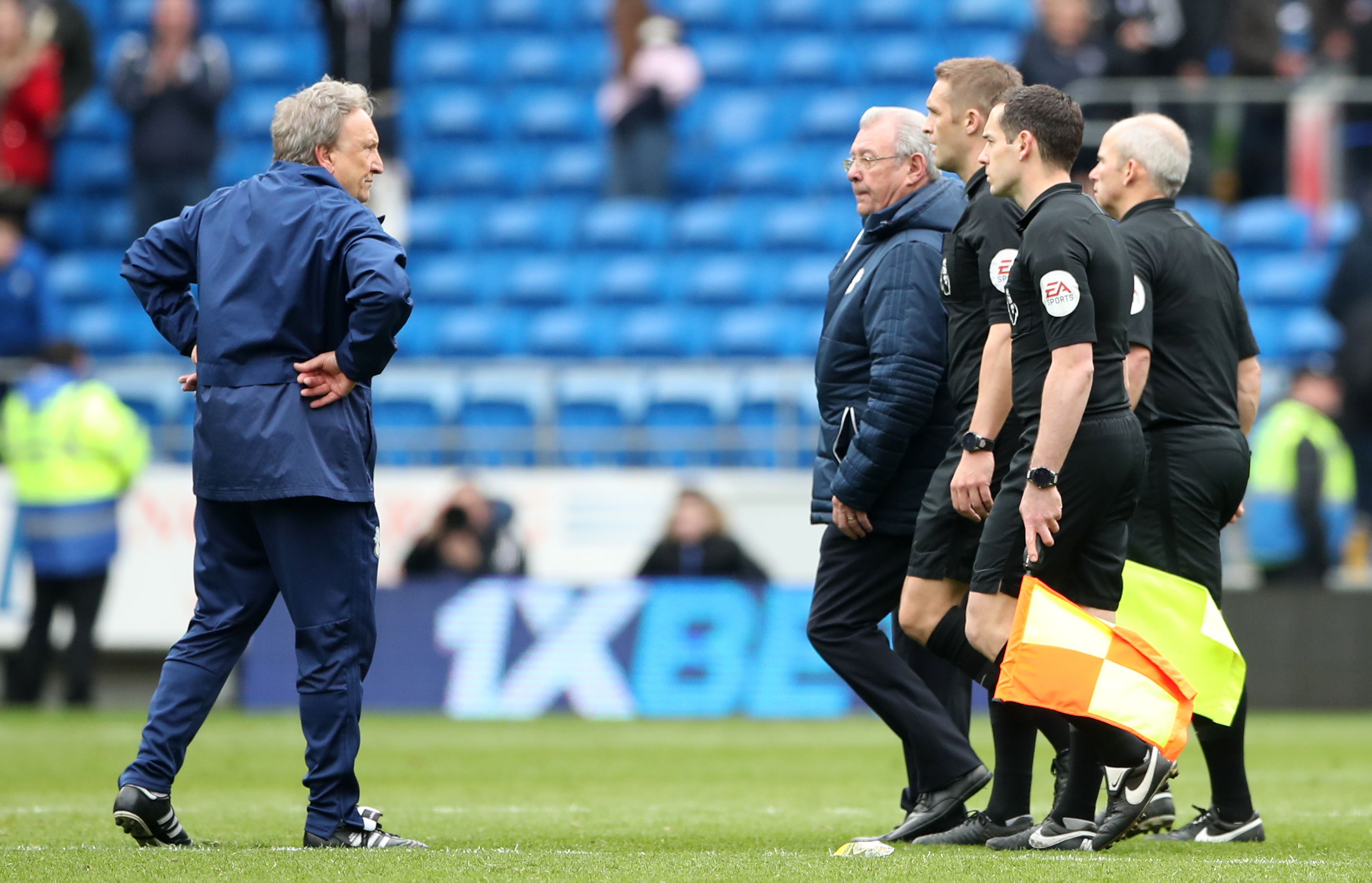 Cardiff City manager Neil Warnock (left) after the Premier League match at the Cardiff City Stadium, Cardiff