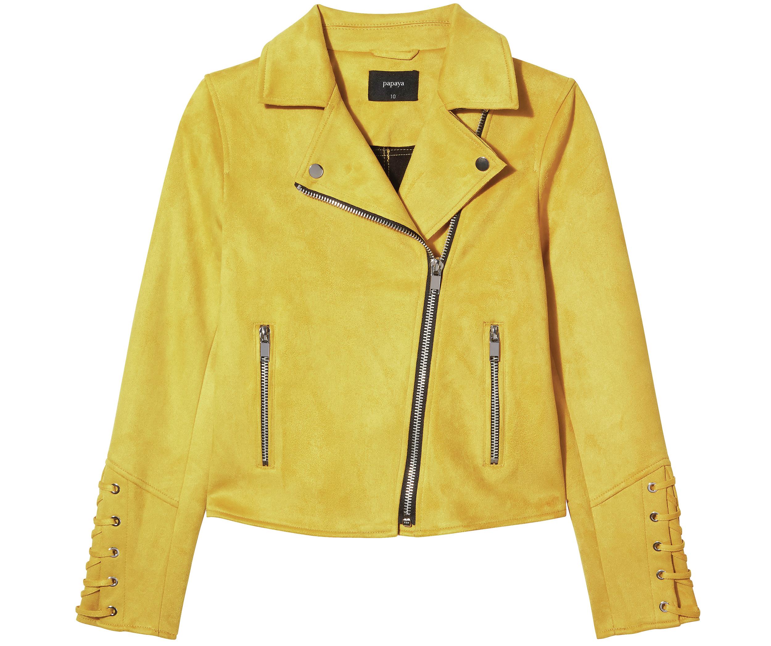 Matalan Mustard Suedette Biker Jacket
