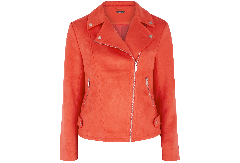 Bonmarche Red Suedette Biker Jacket