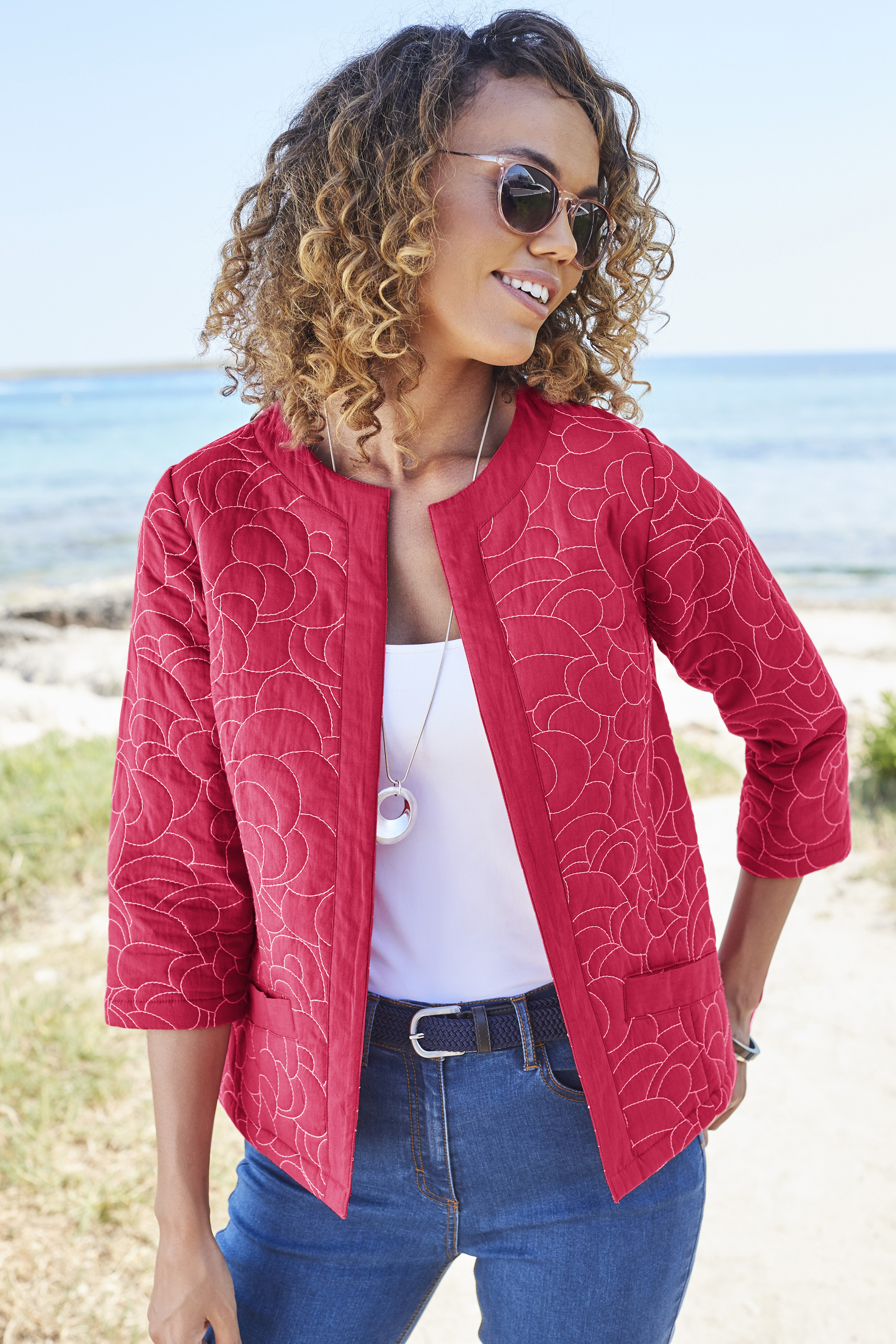 Cotton Traders Red Coral Embroidered Quilted Jacket; Women's Stretch Jeans