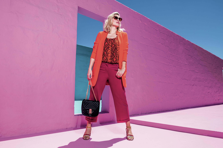 JD Williams Deep Orange Crepe Jacket; Snake Print Vest; Camilla Crop Turn Up Trousers; Three Strap Square Heeled Sandals