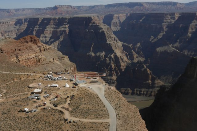 The Skywalk hangs over the Grand Canyon on the Hualapai Indian Reservation