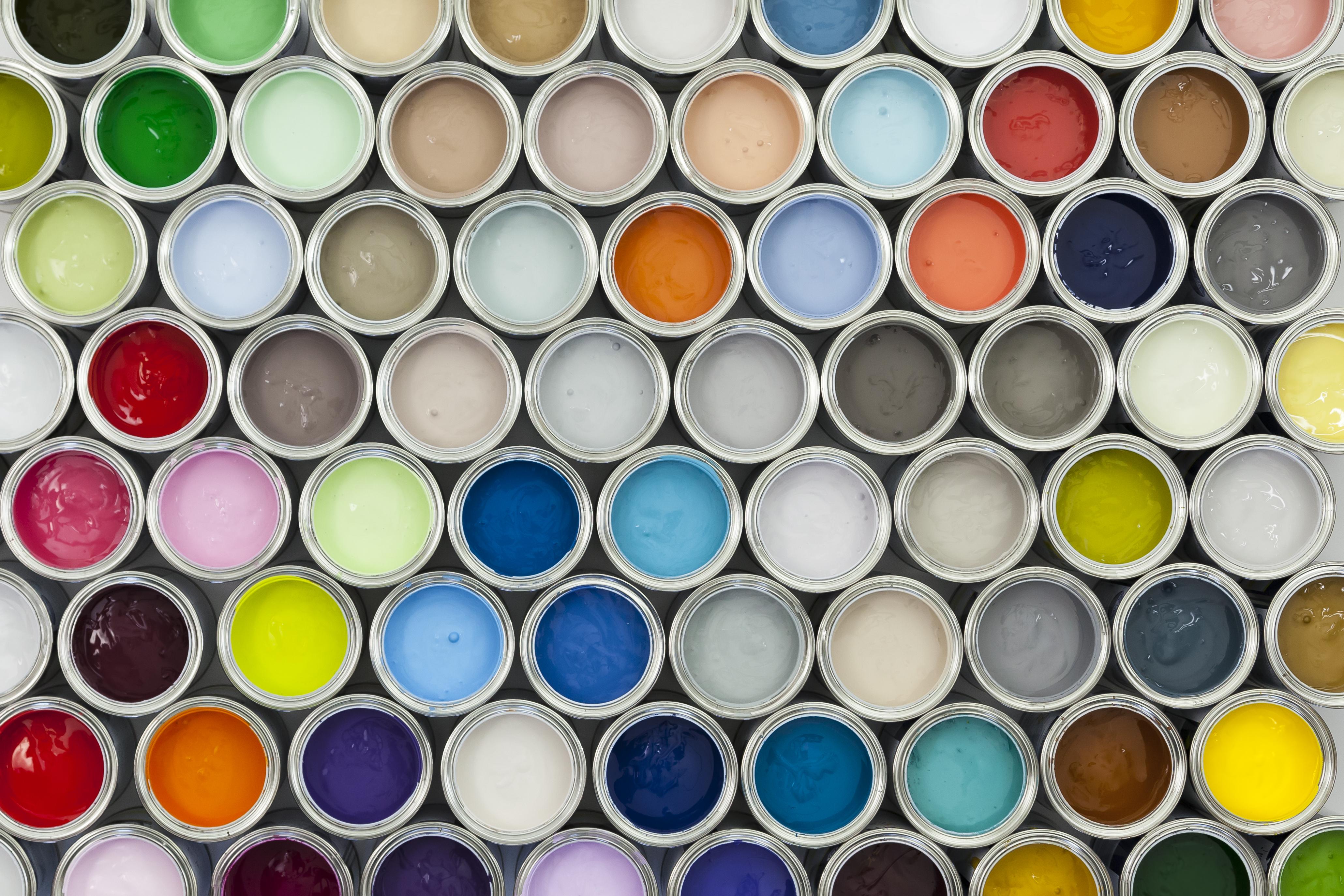 Different coloured paints