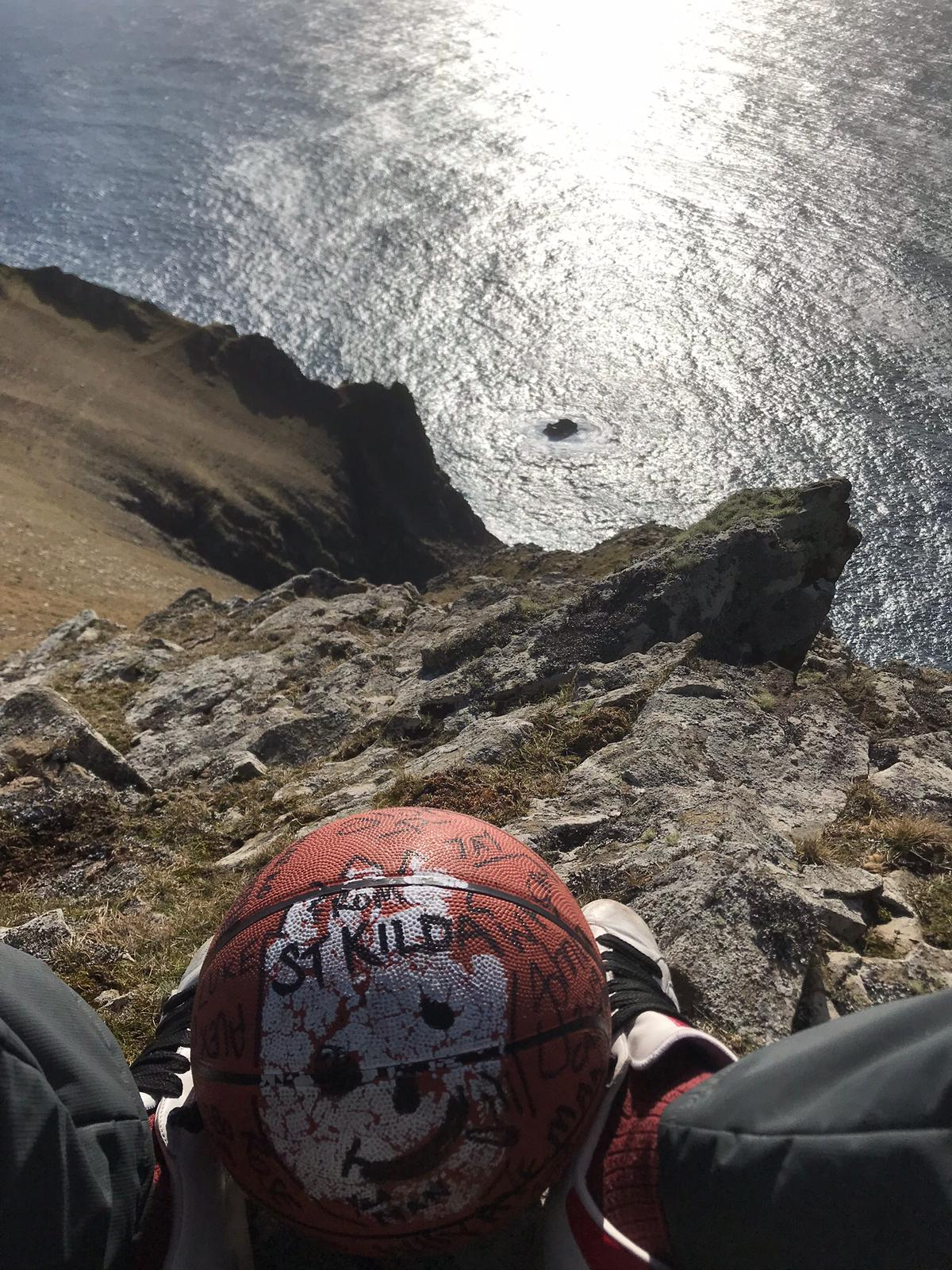Wilson above a cliff on St Kilda
