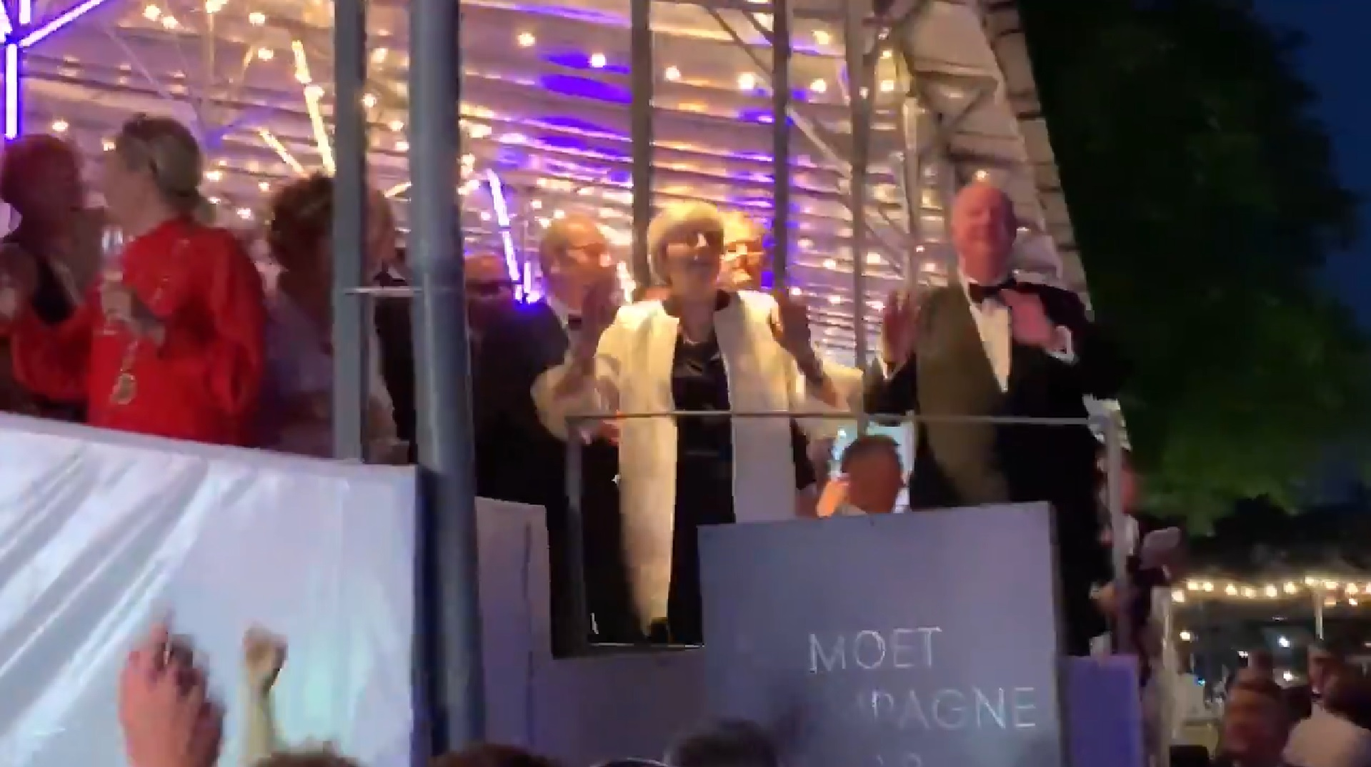 Theresa May dances to Dancing Queen at Henley Festival
