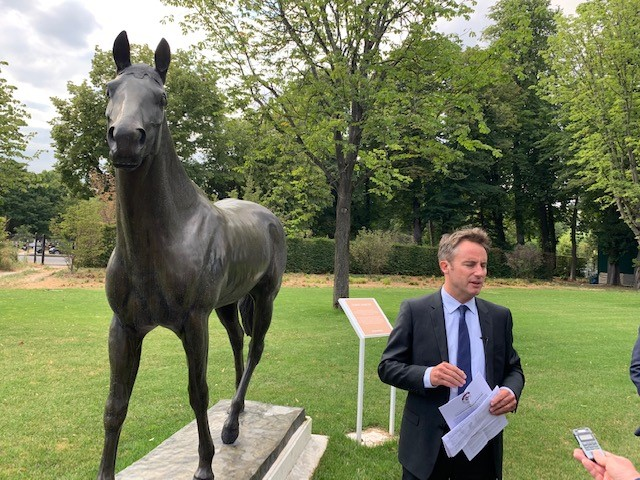 Olivier Delloye of France Galop addresses the British media