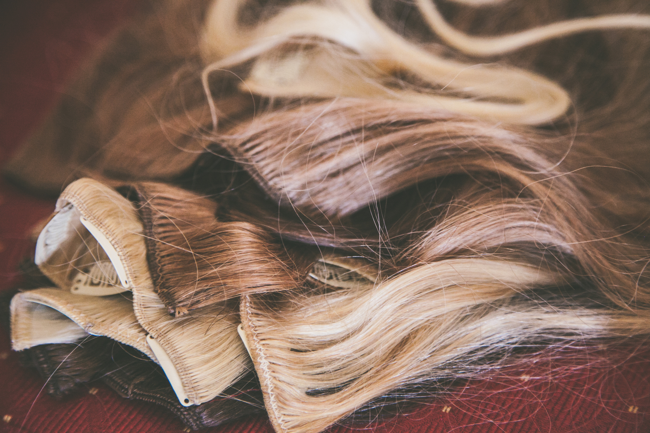 A selection of hair extensions