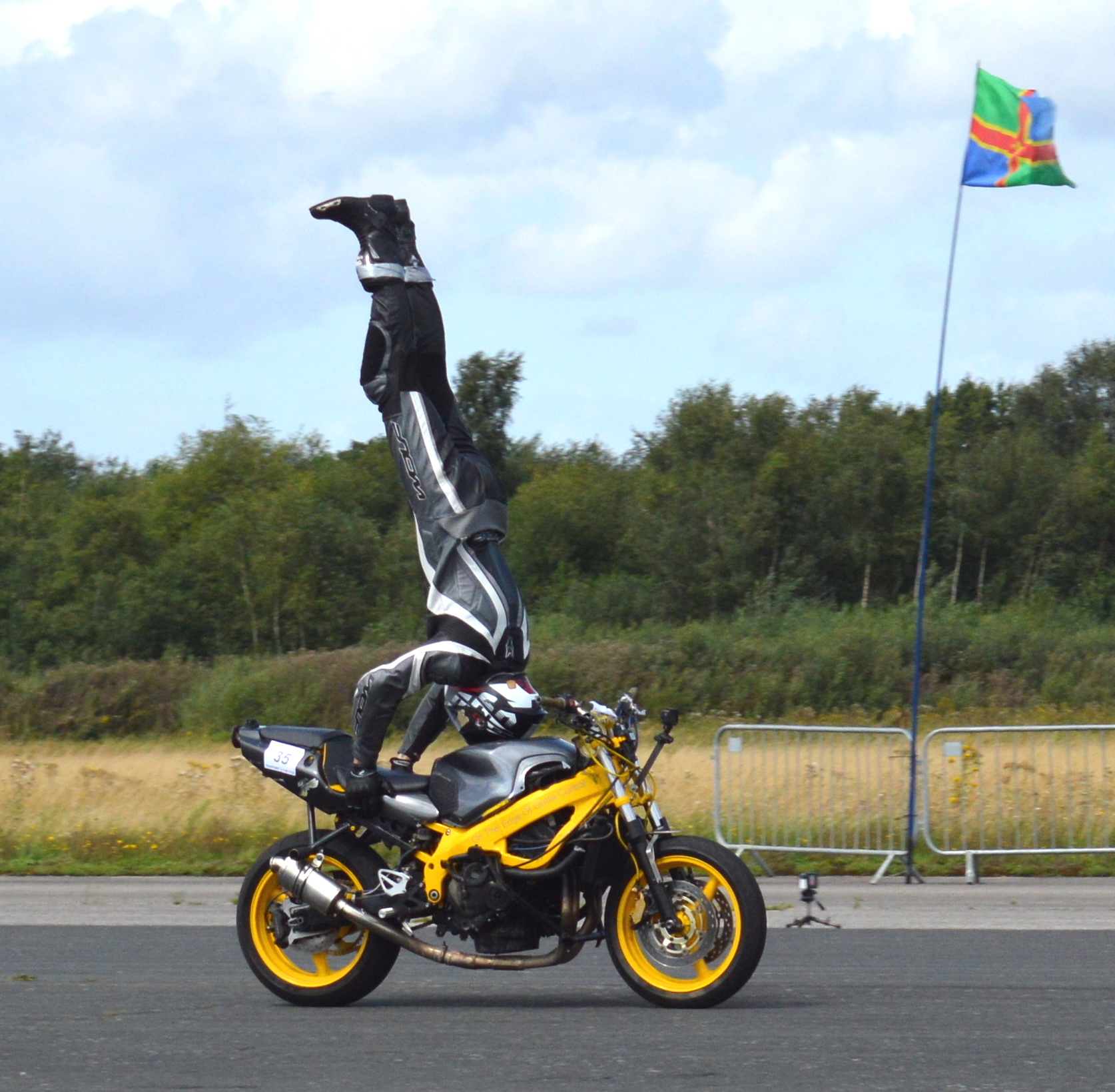 A headstand on a motorbike performed by Marco George