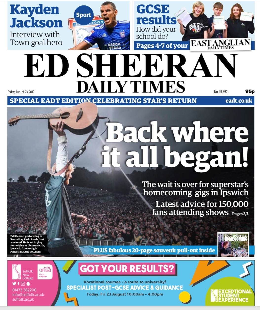 Ed Sheeran's local newspaper the East Anglian Daily Times has changed its name to the Ed Sheeran Daily Times for the day to honour the local star. (East Anglian Daily Times/ PA)