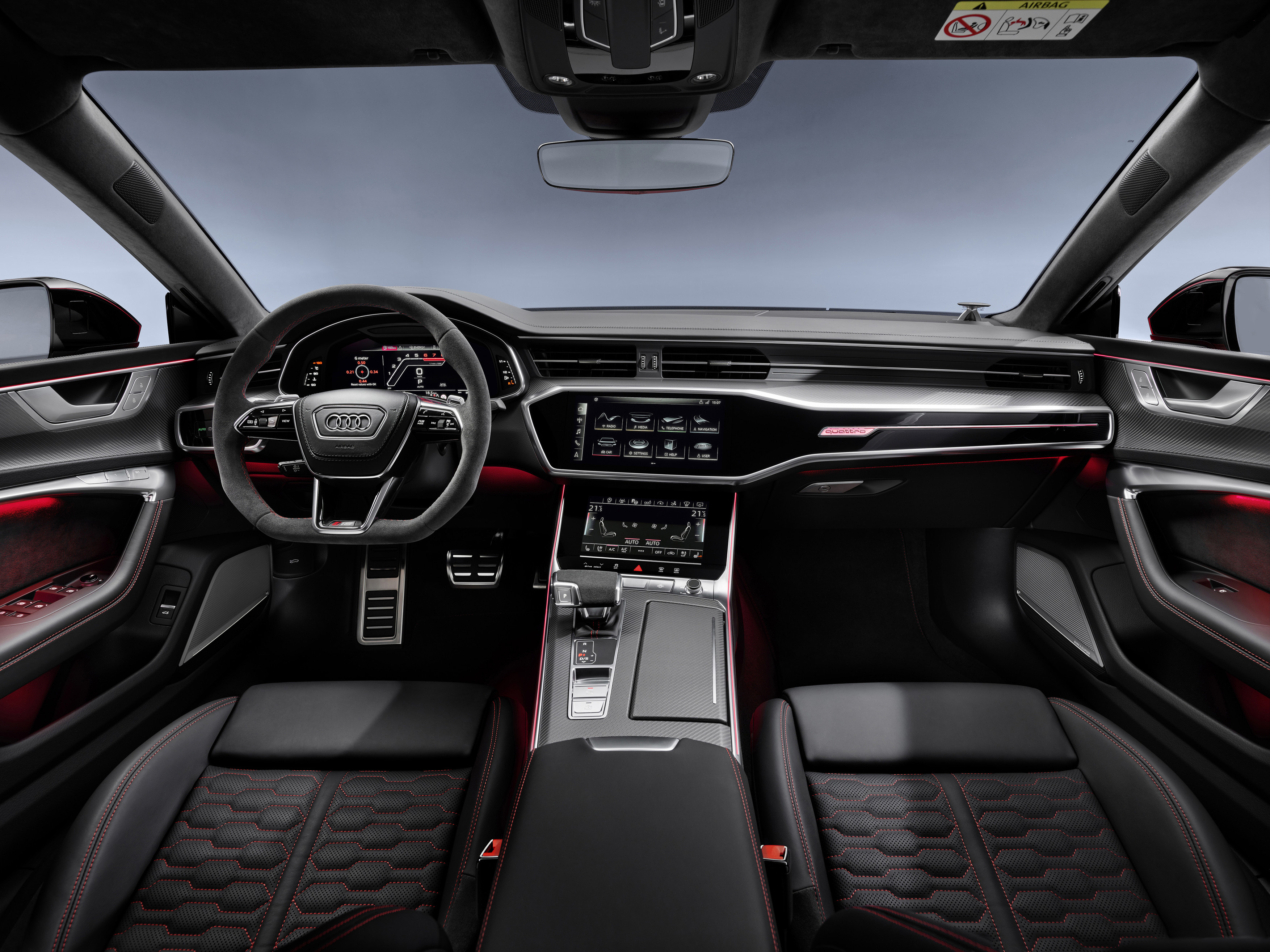 The RS 7's cabin gets sports seats and a flat-bottomed steering wheel